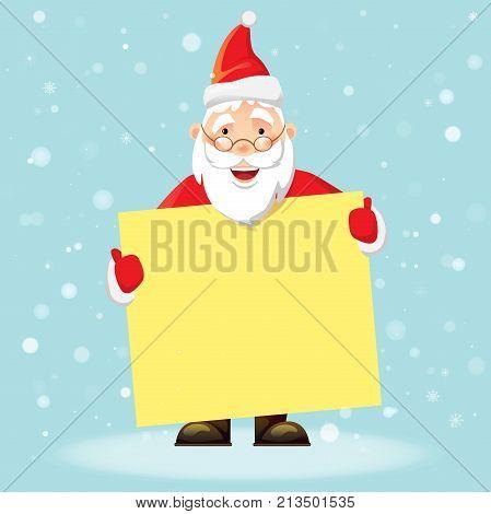 Santa Claus holding blank poster. Blank advertising banner. Merry Santa Claus vector illustration.