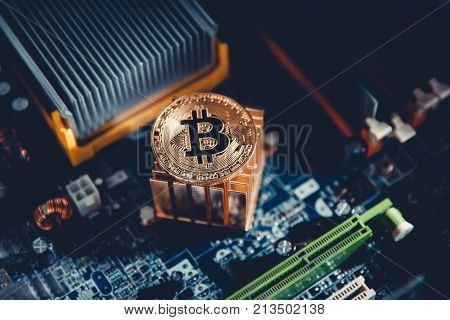 Bitcoin. Gold Bitcoin electronic computer processor board