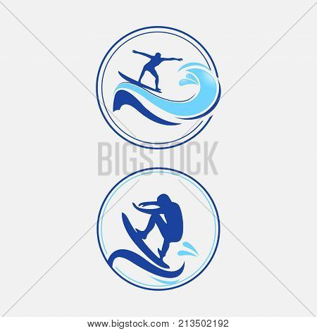 Summer surfing sports vector logos collection with surfer, surf board and ocean wave. Summer sport surfing, illustration of sport surf board badge