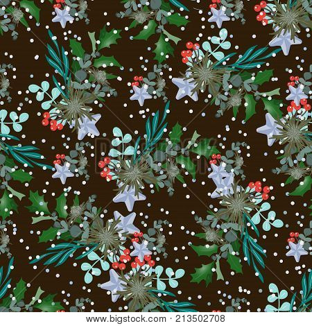 Seamless pattern with Christmas bouquets and snow. Design of wallpaper, fabric, card, packaging and decorative textile. Concept for Happy Thanksgiving, Merry Christmas, New year