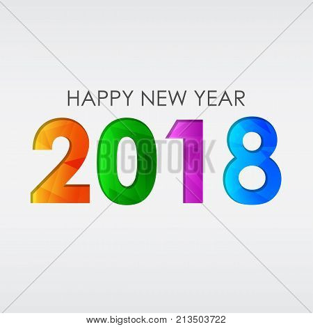 happy new year 2018 in colored figures greeting card holiday seasonal concept