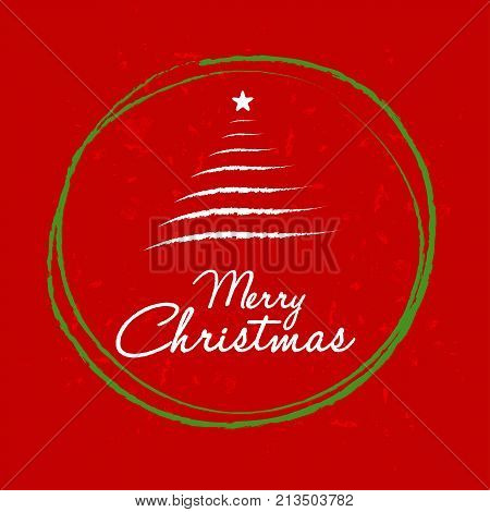merry christmas with christmas tree in ball frame red greeting card holiday seasonal concept