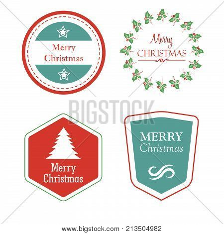 merry christmas in four holiday labels with christmas tree, star, mistletoe, greeting cards, vector