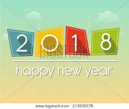happy new year 2018 in flat colored tablets over cloudy sky background, holiday seasonal concept, vector