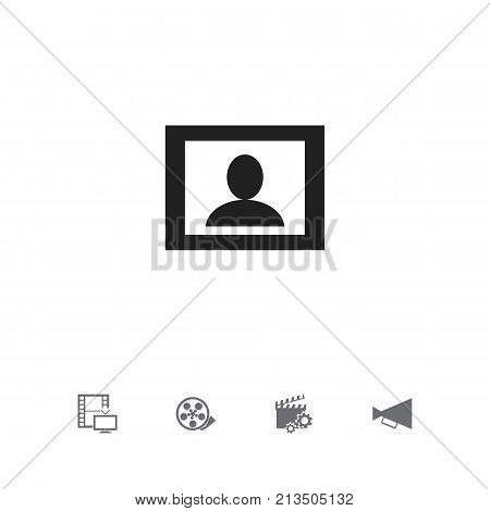 Set Of 5 Editable Movie Icons. Includes Symbols Such As Television, Announcement, Tape And More