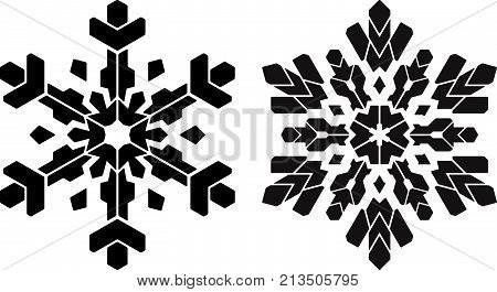 Pair of stencil style snowflakes. Can be used as stencil-plate for your color paint or other design.