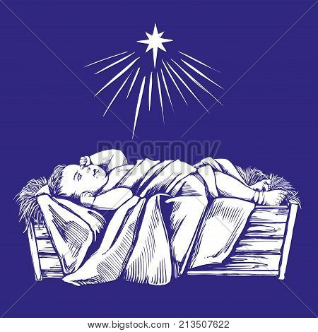 Christmas story. Christmas night , baby Jesus in the manger, Son of God , symbol of Christianity hand drawn vector illustration