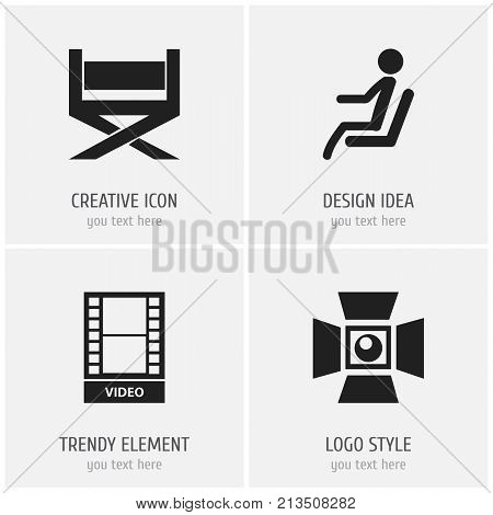 Set Of 4 Editable Cinema Icons. Includes Symbols Such As Movie, Seat, Spotlight And More