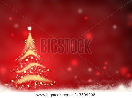 Christmas tree gold red formed from stars background red christmas background illustration