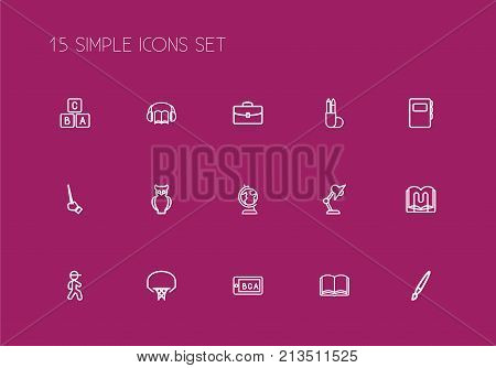 Set Of 15 Editable Teach Outline Icons. Includes Symbols Such As Lightning, Basketball, Earth And More
