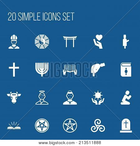 Set Of 20 Editable Religion Icons. Includes Symbols Such As Holy Bull, Orison, Hanukkah And More