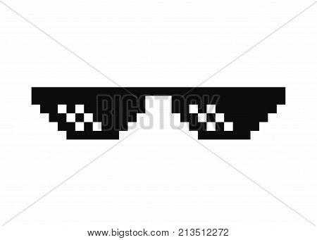 Pixel art glasses. Thug life meme glasses isolated on white background. Vector