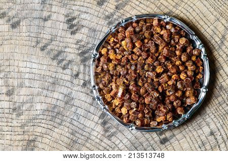 Propolis Granules Inside Plate, Bee Product