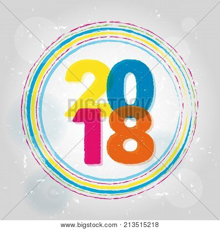 happy new year 2018 in rings colorful drawn banner holiday seasonal concept