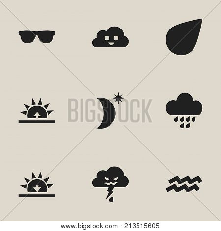 Set Of 9 Editable Weather Icons. Includes Symbols Such As Water Bearer, Morning, Rainstorm And More