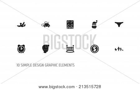 Set Of 10 Editable Kin Icons. Includes Symbols Such As Sparrow, Grandpa , Greenback