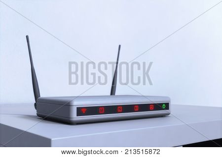 an internet router with red and green LEDs (3d rendering)