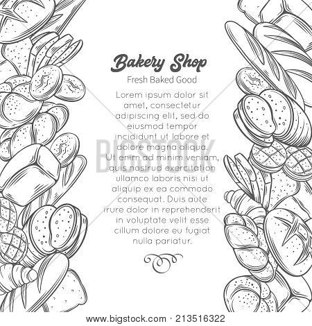 Food template page design with bread product. Hand drawn sketch rye and wheat bread, croissant, whole grain bread, bagel, toast bread, french baguette for design menu bakery shop.