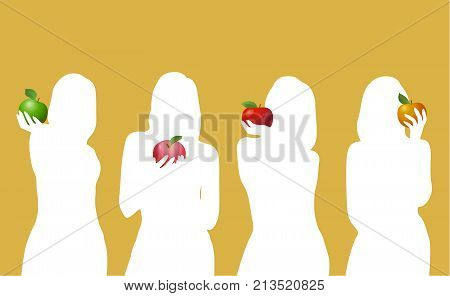 four multicolored apple in the hands of a girl on a beige background