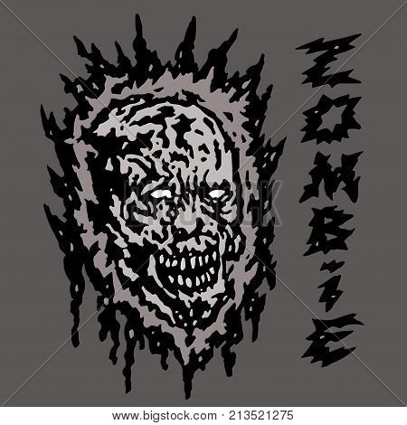 Creepy gray zombie head. Vector illustration. Genre of horror.