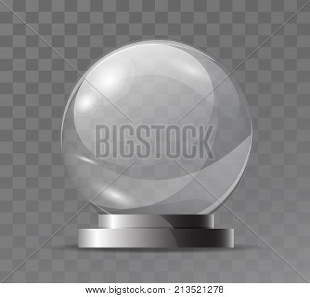 Glass Transparent Crystal Globe. Magic Attribute. Empty Glass Sphere. Stand For A Souvenir, Trophy.