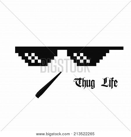 Pixel art glasses. Thug life meme glasses with cannabis joint isolated on white background. Vector