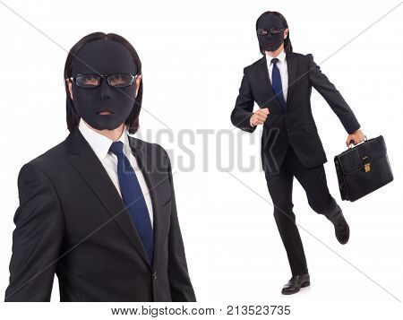 Man with mask isolated on white
