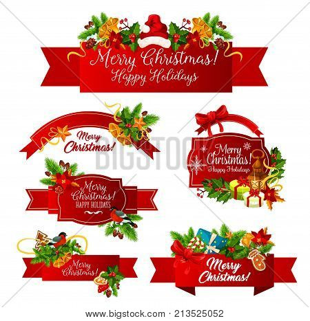 Merry Christmas greeting and happy holiday wishes on red ribbon bow icons design. Vector Christmas tree wreath garland decoration of holly, poinsettia and fir cones for New Year celebration season