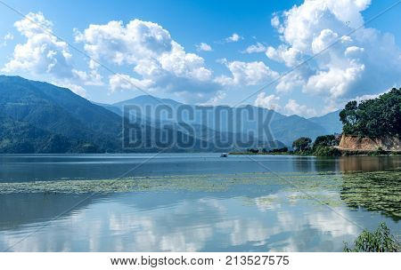 lake in Pokhara, Nepal on a sunny day