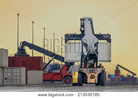 Crane Truck Lift Container In Warehouse .