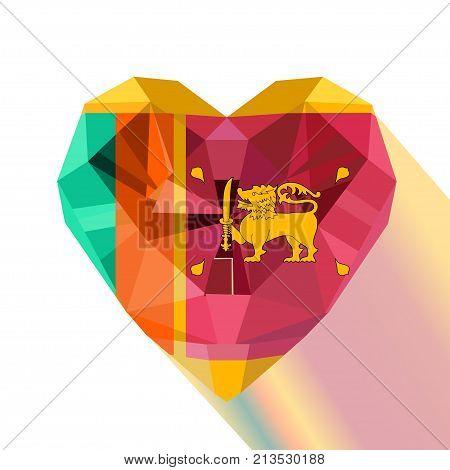Vector crystal gem jewelry Sri Lankan heart with the flag of the Democratic Socialist Republic of Sri Lanka. Flat style logo symbol of love Ceylon.Independence of Sri Lanka's day 4 February Flag's day
