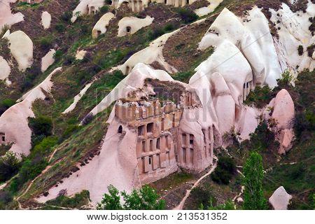 Ancient Cave Town In Goreme, Cappadocia, Turkey