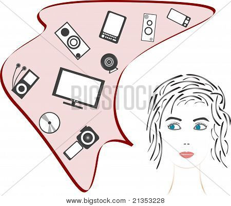 beauty girl and dreams about digital media