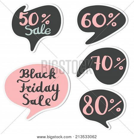 Set of round sticker speech bubbles for Black Friday Sale isolated on white background. Circle speech bubble.