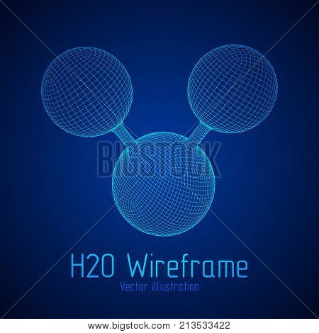 Wireframe Mesh H2O Water Molecule. Connection Structure. Low poly vector illustration. Science and medical healthcare concept