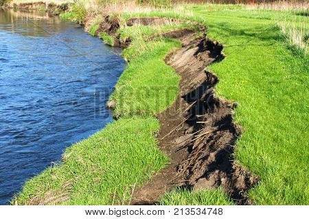 River bank collapse due to erosion of a cut bank in the Kishwaukee River