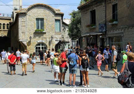 Carcassonne, Languedoc-roussillon, France - August 24 2017: A Busy Square Full Of Visitors In The  M