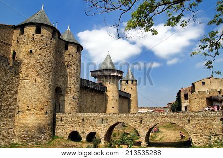 Carcassonne, Languedoc-roussillon, France - August 24 2017: Bridge Leading To The Chateau Comtal In
