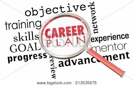Career Plan Job Employment Promotion Goal Magnifying Glass 3d Animation