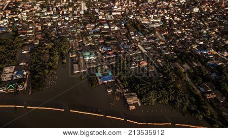 Aerial view of village Large community Living by the sea Thailand .