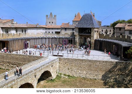 Carcassonne, Languedoc-roussillon, France - August 24 2017: Visitors Queueing For The Battlements To
