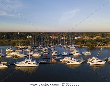 Aerial view of Beaufort, South Carolina and harbor.