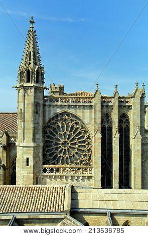 Carcassonne, Languedoc-roussillon, France - August 24 2017: The Basilique Saint Nazaire, In The Medi