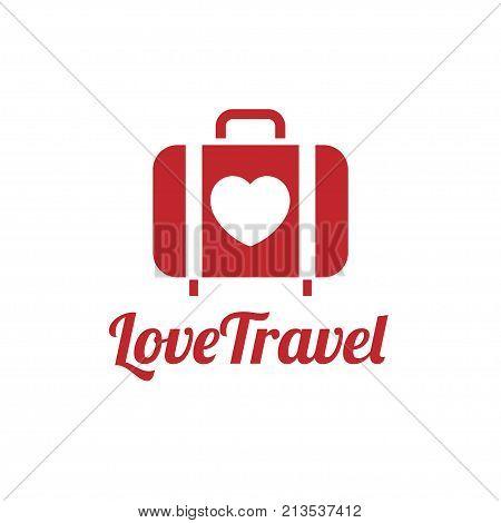 love traveler, Travel bag vector logo icon. love, Sea, summer and holiday symbol. Stock design elements