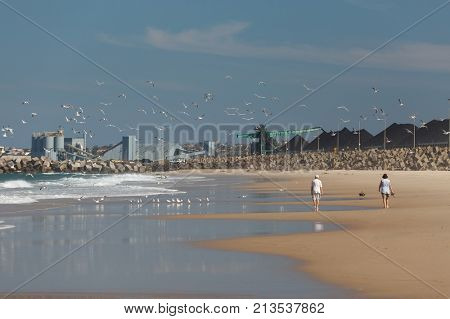 WOLLONGONG, AUSTRALIA - MAY 02, 2017: Long sandy beach of Wollongong, people walking on the shore, seagulls flying, industrial plants in the background