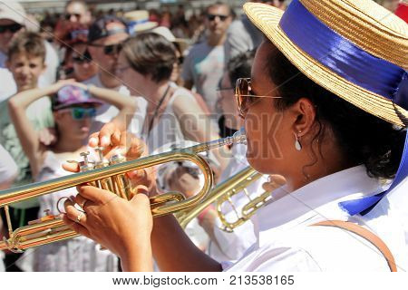 Sete, Herault, France  - Aug 21 2017: Brass Player In The Traditional French Band