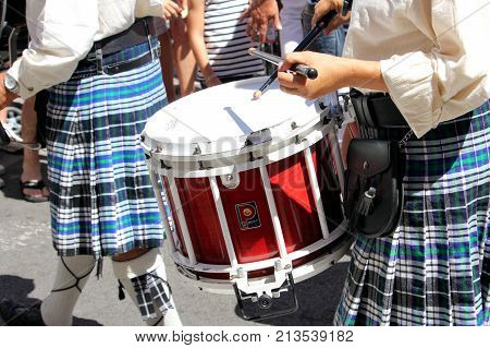 Sete, Herault, France  - Aug 21 2017: Kilted Drummers Of The Traditional French Celtic Band