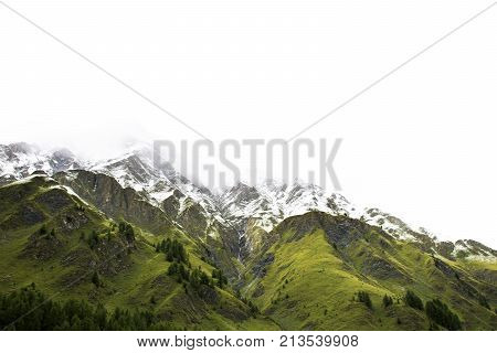 Alpine Tree Forest On The Mountain With Alps Highest And Most Extensive Mountain Range In Samnaun, S