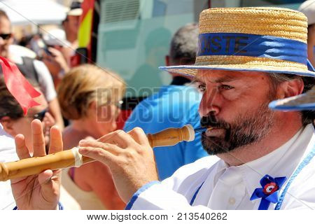 Sete, Herault, France  - Aug 21 2017: Oboe Player In The Traditional French Band