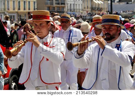 Sete, Herault, France  - Aug 21 2017: Musicians Of The Traditional French Band
